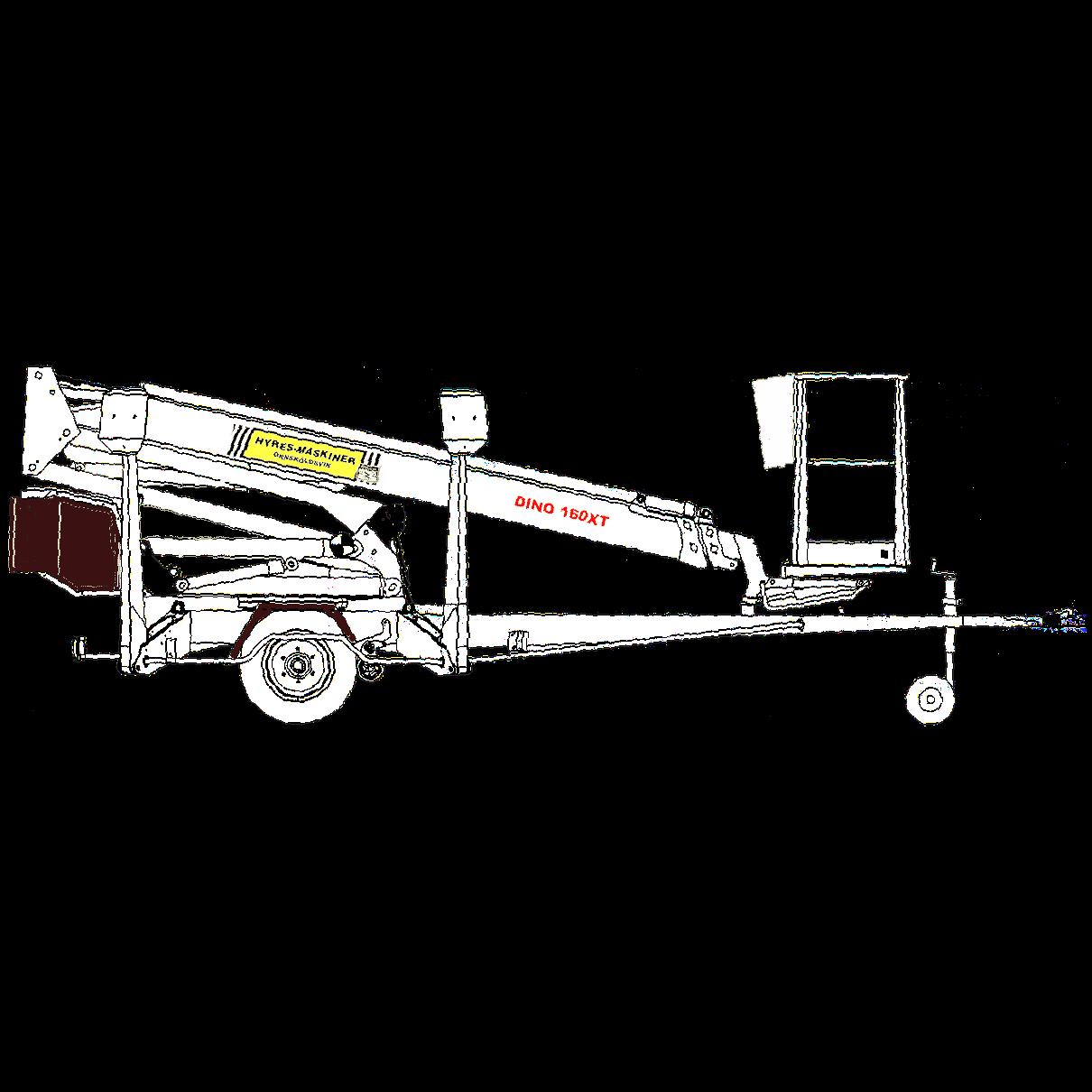 Släpvagnslift, 16,0 meter, med 220V eller bensindrift